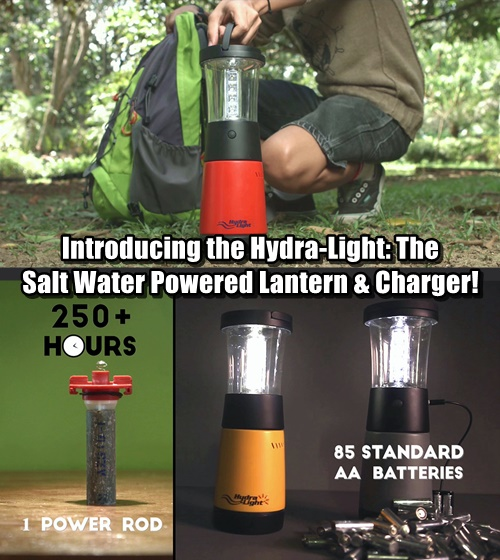 Introducing the Hydra-Light The Salt Water Powered Lantern & Charger