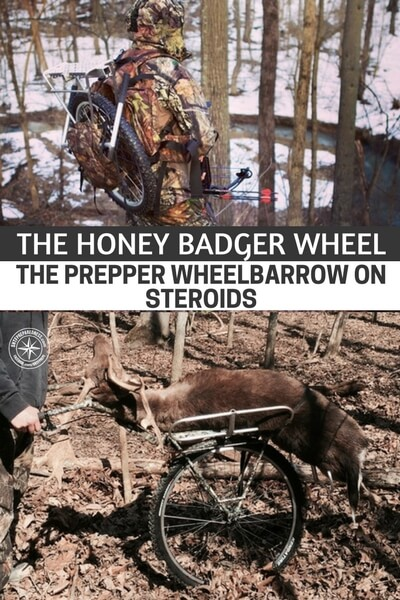 The Honey Badger Wheel - The Prepper Wheelbarrow on Steroids - The Honey Badger Wheel is a new product with early backers that is being launched as a crowdfunder on Kickstarter. The Honey Badger Wheel can carry up to 200 pounds with ease not muscle.