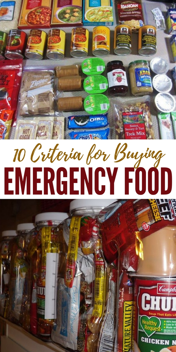 10 Criteria for Buying Emergency Food - Here is a list of 10 criteria to use that will help you determine which company is right for you and your situation. There is no one size fits all because of people's preferences, allergy considerations, or special dietary needs make it next to impossible for companies to be able to offer one item or package that will fit everyone.