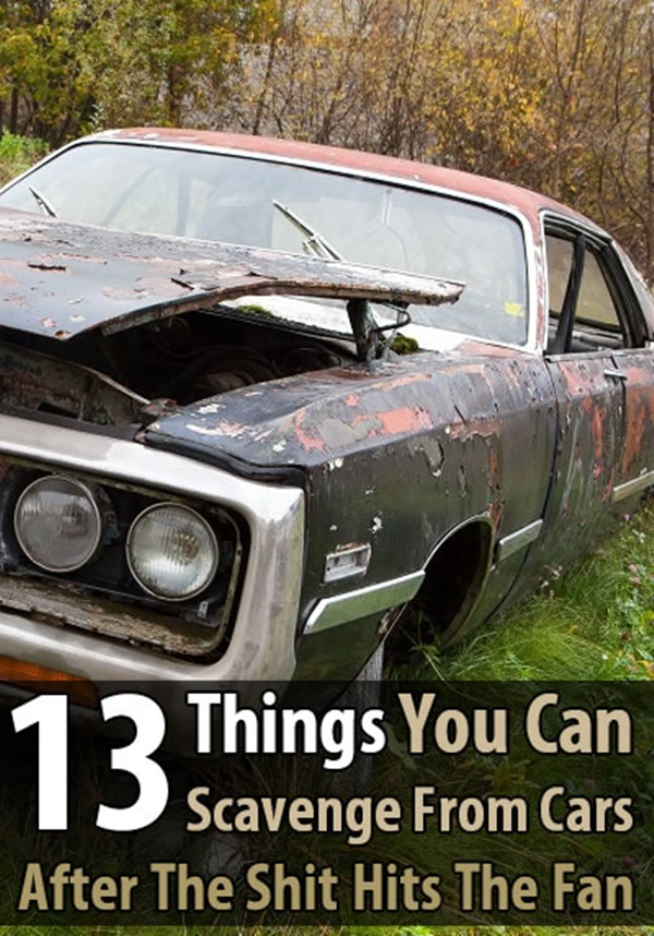 13 Things You Can Scavenge From Cars After The SHTF- In the United States, there are over 800 vehicles per 1000 people. So if there's ever a widespread disaster that claims countless lives, there will be abandoned vehicles everywhere.