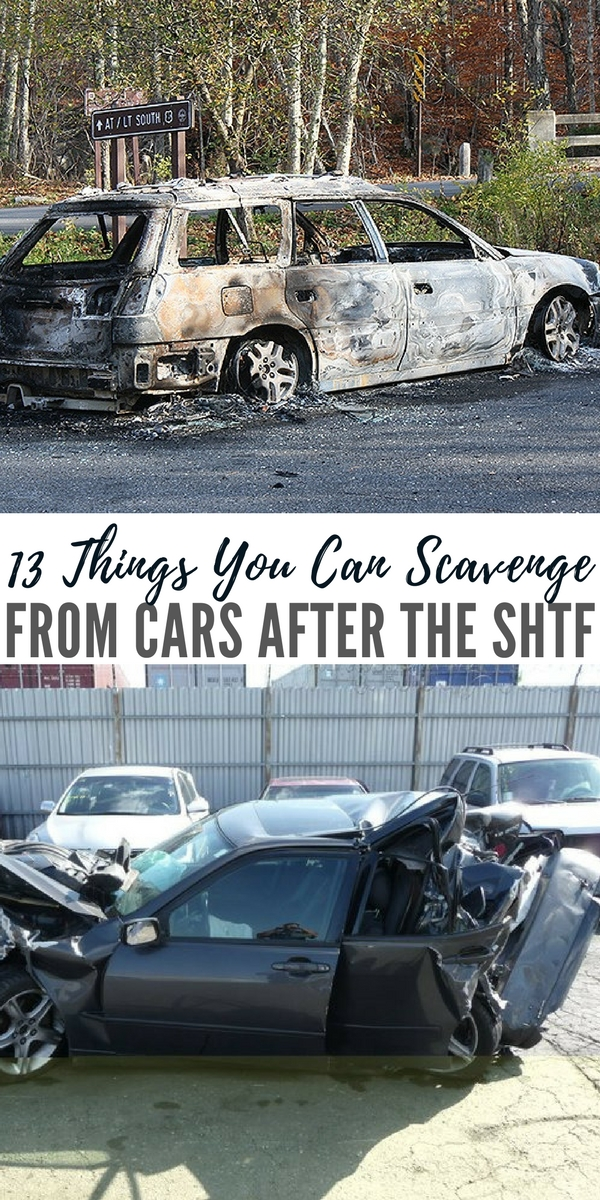 13 Things You Can Scavenge From Cars After The SHTF - Well, in such a world you'll want to make use of everything you can, and it so happens that vehicles have all sorts of things that could prove useful in a long-term disaster: mirrors, cushioning, the battery, gasoline, and so forth.