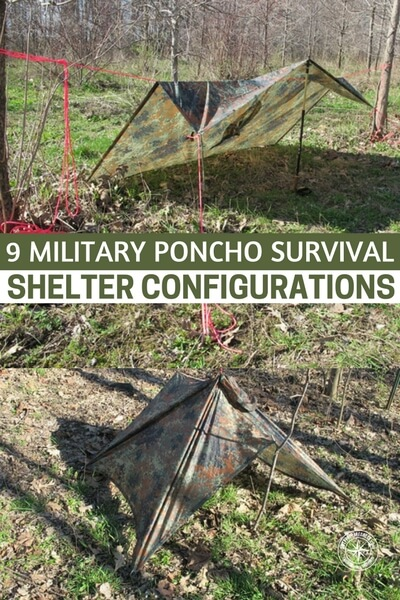 9 Military Poncho Survival Shelter Configurations - A poncho is an essential item for ANY outdoor outing and certainly in every Survival Kit and Bug Out Bag is a good quality Poncho. There is nothing more miserable (and dangerous) than getting soaked by rain.