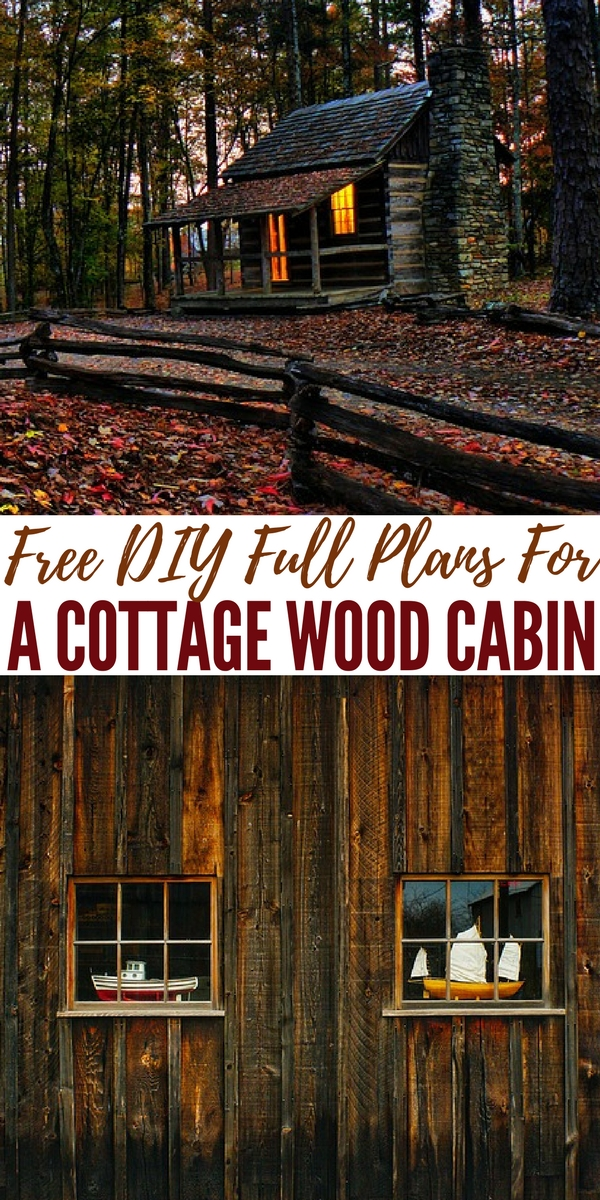 Free DIY Full Plans For A Cottage Wood Cabin - The plans are completely free and the website even has other links to other free projects on there too. I personally LOVE this style cabin and may just have to build one.