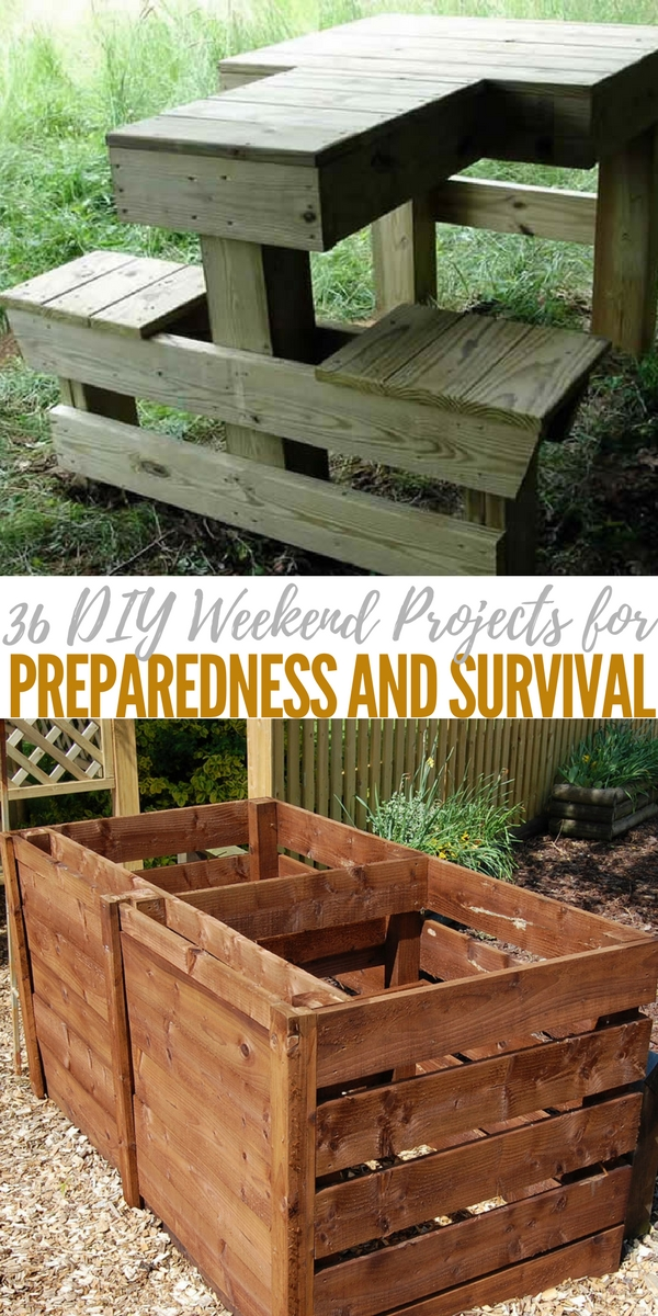 36 DIY Weekend Projects for Preparedness and Survival - Doing DIY projects not only makes you more self reliant but can save you and your family a lot of money over the years.