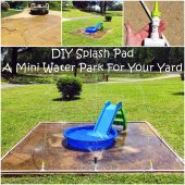 DIY Splash Pad: A Mini Water Park For Your Yard - This is a really cool, fun DIY project that the whole family can have great time putting together and then having some good old fashioned water fun. :) Even the adults. Now that it's (finally!) getting warmer, this is the perfect family project.