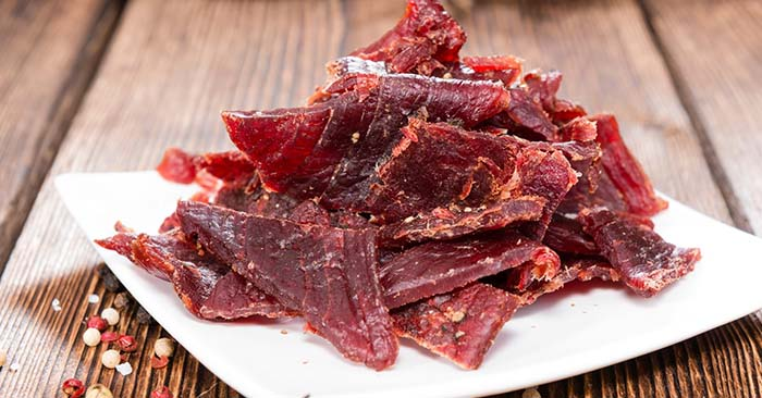 beef jerky on a plate