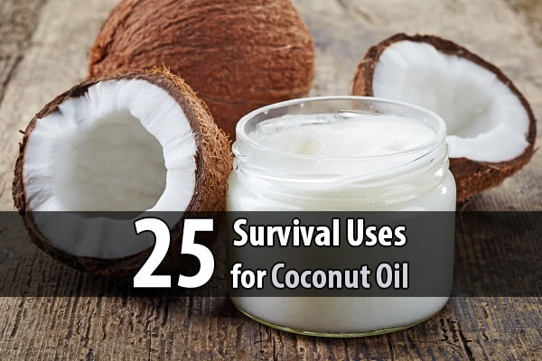 25 Survival Uses for Coconut Oil - Coconut oil can help cuts, burns and bug bites heal faster while reducing pain. It can remove rust from knives and axes and prevent wood from rotting and splitting. It can even be used to make candles when nothing else is available.