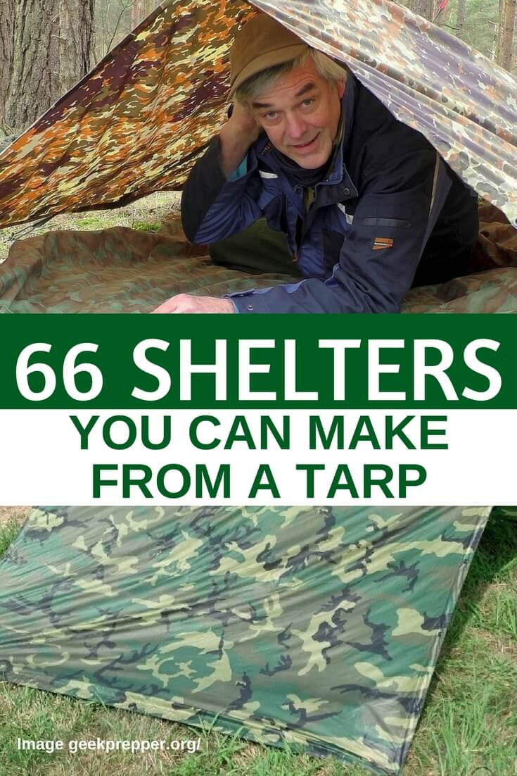 66 Shelters You Can Make From A Tarp — Having a tarp as part of your bug out bag is essential, it's lighter than a tent, easily carried on your backpack and so versatile...  you can make 66+ shelters with a single tarp. I personally have a 10 x 10 blue tarp but I want to purchase either a brown or camouflage tarp just to blend in more if I had to bug out.