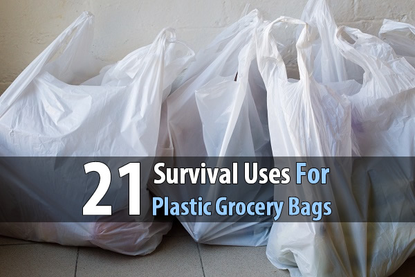 21 Survival Uses For Plastic Grocery Bags - Plastic grocery bags can be used for things like making rope, providing insulation, marking a trail, keeping your gear dry, containing waste, collecting herbs, protecting your plants, and much more. In fact, next time you go shopping ask them to double bag your groceries because you can easily store hundreds of these bags in a very small space.