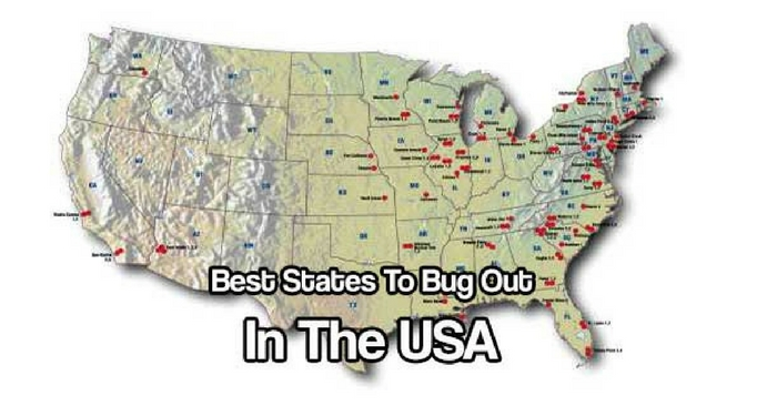 Best States To Bug Out In The USA — For me, I would head south, I only say that because the winters up north are killers and I want warmer temperature longer so my growing season is extended. What about you?