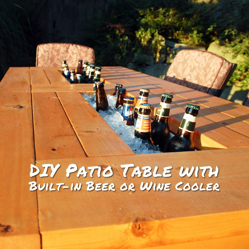DIY Patio Table with Built-in Beer or Wine Cooler - There is nothing worse than a warm beer when you are hosting a BBQ, am I right? This table will make your party look good and actually keep your beverages cool without the need of an unsightly cooler.