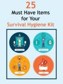 25 Must Have Items for Your Survival Hygiene Kit - This list is not intended to be used for a bug out bag. It goes more in depth than just your standard baby wipes and dental floss. This list helps meet some of the more common needs that people don't think about until they're forced to.