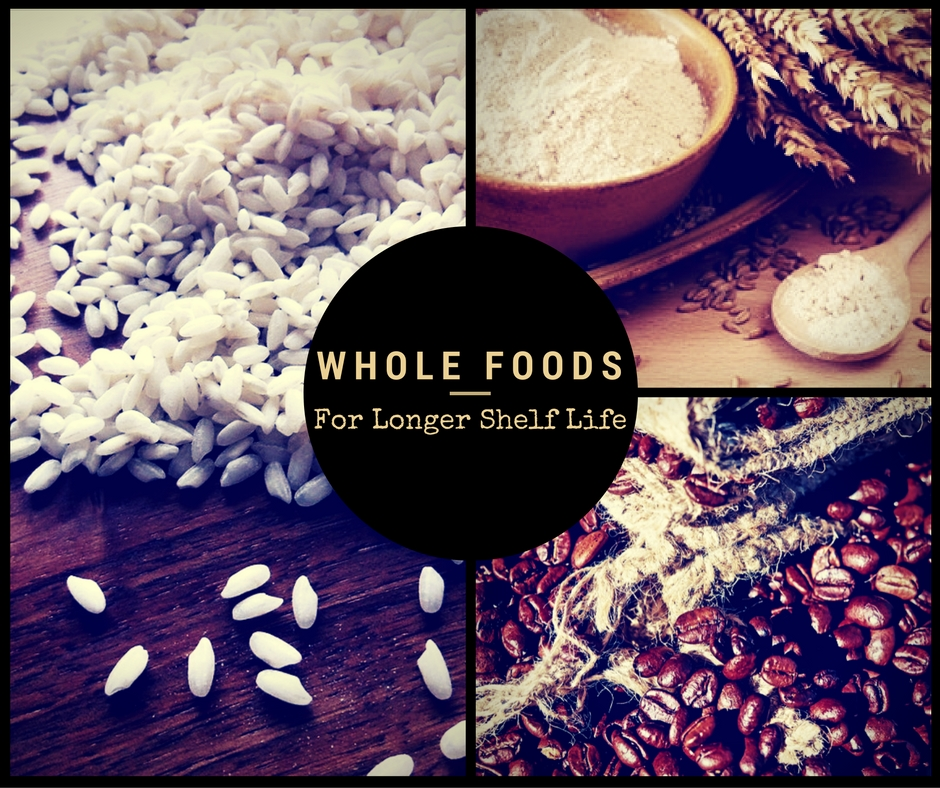 Whole Foods For Longer Shelf Life - Preppers tend to want things that will last decades in their stock pile. Guilty! Whole rice versus rice flour, whole beans versus cooked and dehydrated...all these things have a longer shelf life, especially when you're doing it yourself!