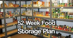 52 Week Food Storage Plan — This is the mother load of food storage articles, week by week food storage plan which tells you all about the food, the nutritional values and even what recipes you can make from it