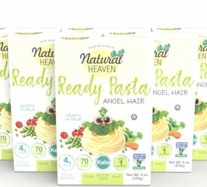 Natural Heaven Pasta Substitute | Angel Hair Hearts of Palm Noodles | 6 Count 9 oz | Kosher