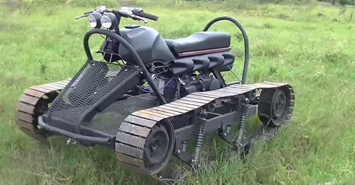 "How To Build Your Own Ultimate Survival Vehicle - Well, I thought I had seen everything in regards to DIY off road vehicles. I was mistaken. This puppy I am calling the ""bike tank"" is a tracked vehicle that is powerful and light enough to get you to your bug out location."
