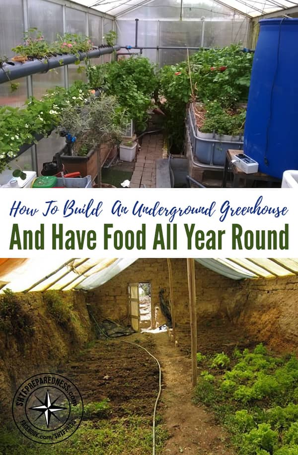 Download the free PDF and learn how to build an underground greenhouse for around $400 and have food all year round.