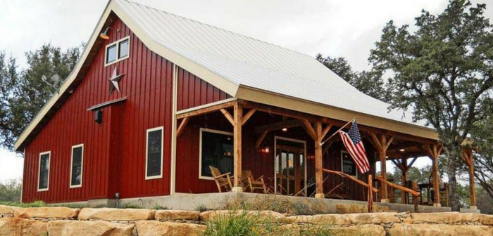 """Country Barn Home Kit With Open Porch - I found this barn home kit that looks amazing. If you are in the market for a bigger home but don't have hundreds of thousands of dollars to buy or build a """"regular"""" home then these kits are for you."""
