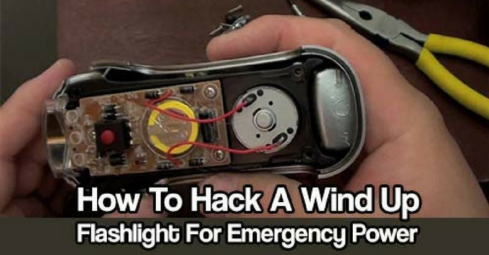 How To Hack A Wind Up Flashlight For Emergency Power — This emergency power will allow you to power up your cell phone, PDA or other small electronics, this is a really easy and cheap way of producing emergency power when you need it. This hack is that good, the flashlight still works after you modify it!