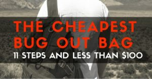 The Cheapest Bug Out Bag: 11 Steps and Less Than $100 — Yes, you could throw together a cheap bug out bag for practically free. But will it help you survive when SHTF? You could also spend all your money on a bug out bag and let it sit in a closet and never look at it again.