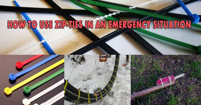 How To Use Zip-Ties in An Emergency Situation — Your imagination is the key to survive an emergency situation. It doesn't matter if you're stranded in the woods or in the concrete jungle. Putting your mind to good use and using the items you have can save the day. Having a few simple zip-ties in your bag is recommended as these simple pieces of gear have multiple uses.