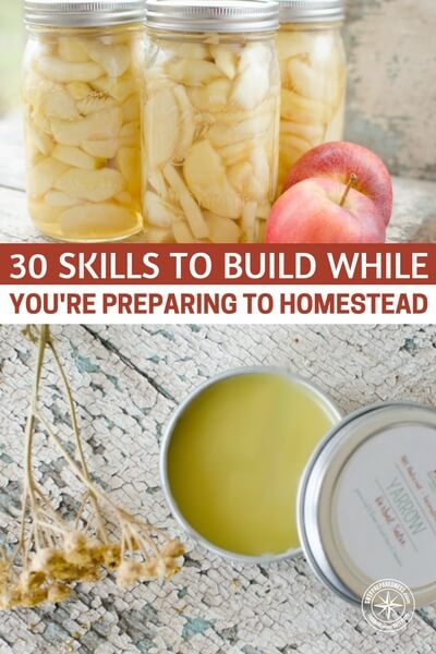 30 Skills to Build While You're Preparing to Homestead - This article from Reformation Acres goes through 30 valuable skills that you can practice and perfect in the meantime. Don't let time get the best of you, start now so you are ready when the time comes. My personal favorite suggestions are to learn to mill whole grains, bake bread and make homemade yogurt as well as making homemade soaps and home remedies. This is great advice!