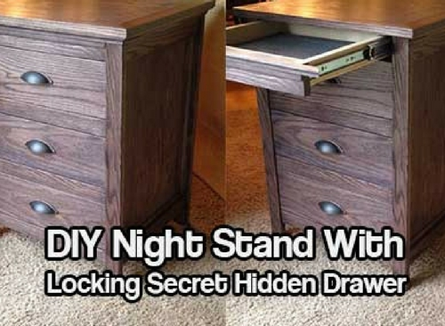 DIY Night Stand With Locking Secret Hidden Drawer - Whether you want to keep a firearm handy in case of intruders or simply stash away some extra cash or other valuables, having a hidden secret drawer in your night stand is something almost anyone can appreciate and utilize.