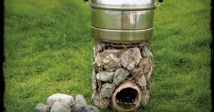 DIY Rocket Stove Out Of Stones And Coat Hangers - I think this design is awesome ...