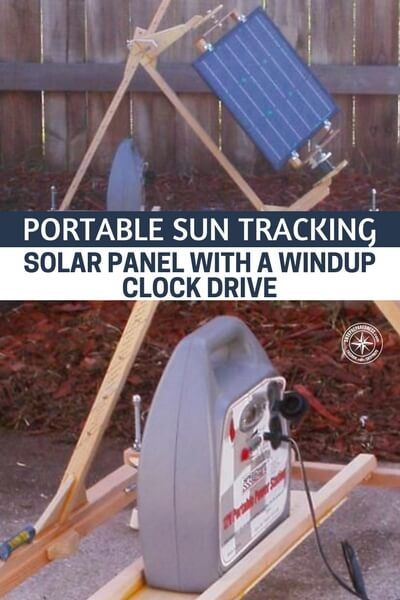 Portable Sun Tracking Solar Panel With A Windup Clock Drive - DIY This Portable Sun Tracking Solar Panel is easy to make and will get you all the power possible from the sun in a day. I love this project! Take advantage of an old clock and then you can track the sun over the day and with this you will get more charge in your batteries.