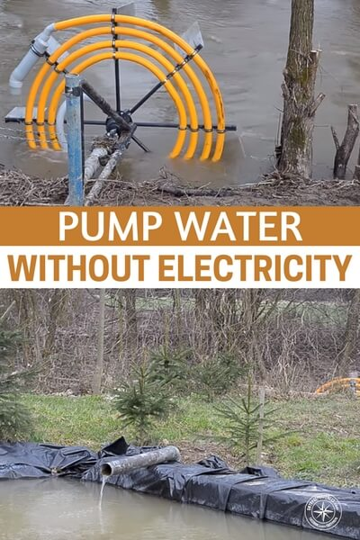 Pump Water Without Electricity - Consider a hydro powered water pump that requires no external energy (electric, solar or otherwise) using only the current of the water to power your water pump. It works due to the water in the wheel being higher than the release pipe, the larger the wheel the more pressure you will have to pump the water. More coils provide a greater head lift, or ability to pump uphill. What a ingenious idea and could be a lifesaver.