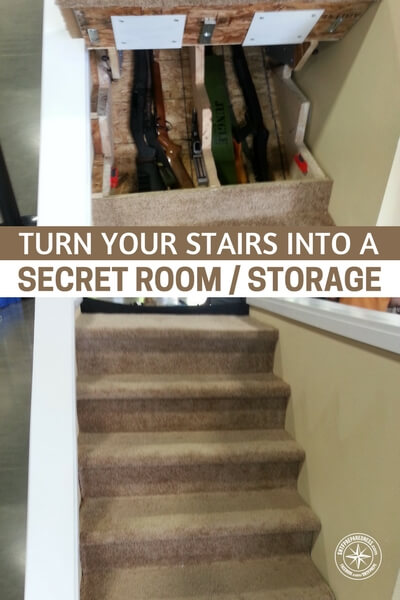 Turn Your Stairs Into A Secret Room - I have a small house but I have a great stairway that is just a waste of space. With this idea, I could turn that into a little hidden room either to hide or stash preps. Maybe even let the mother-in-law stay in there