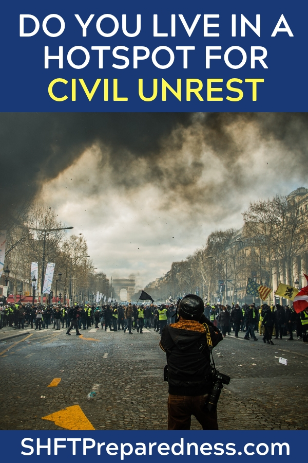 Do You Live In A Hotspot For Civil Unrest? - Civil unrest is a broad term used to describe a group of people that are publically displaying protest and displeasure over any number of social and political issues. Civil unrest isn't limited to riots and although common, violence and destruction aren't necessary to classify civil unrest.