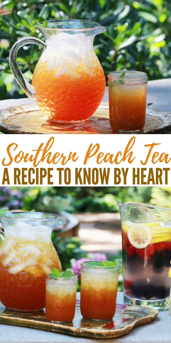 Southern Peach Tea: A Recipe to Know by Heart - A recipe from someone who lives in Alabama this is the very best source for what seems like the nectar of the gods on a hot summer day. Life is truly about the little things. Its also about the sweet, peachy things!