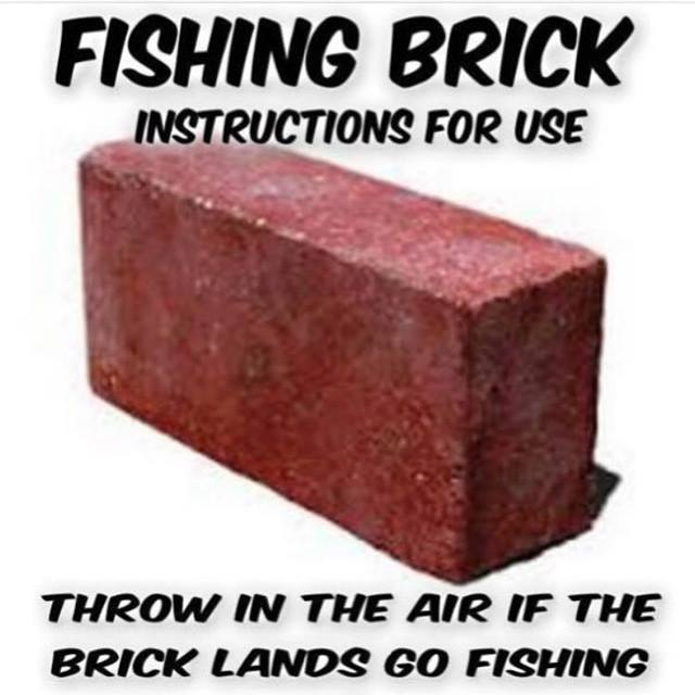 Fishing Brick - Instructions for use: throw in the air... if the brick lands, go fishing