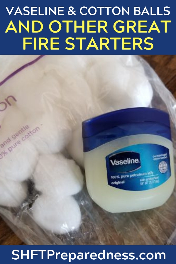 Vaseline & Cotton Balls – the Perfect Fire Starter? - This article is all about creating a powerful fire starter from Vaseline and cotton balls. these two elements are kind of a no brainer and will create a great set of starters that are cheap and easy. I use dryer lint in place of cotton balls.
