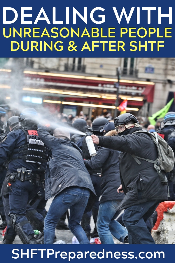 Dealing with unreasonable people during and after SHTF. - Dealing with the masses will be a big part of surviving a collapse. Not only will you have to deal with these people you may even need their help. You may need to ask them for things or at the very least you will have to barter for things. Doesn't sound like fun but its a skill set you will need.