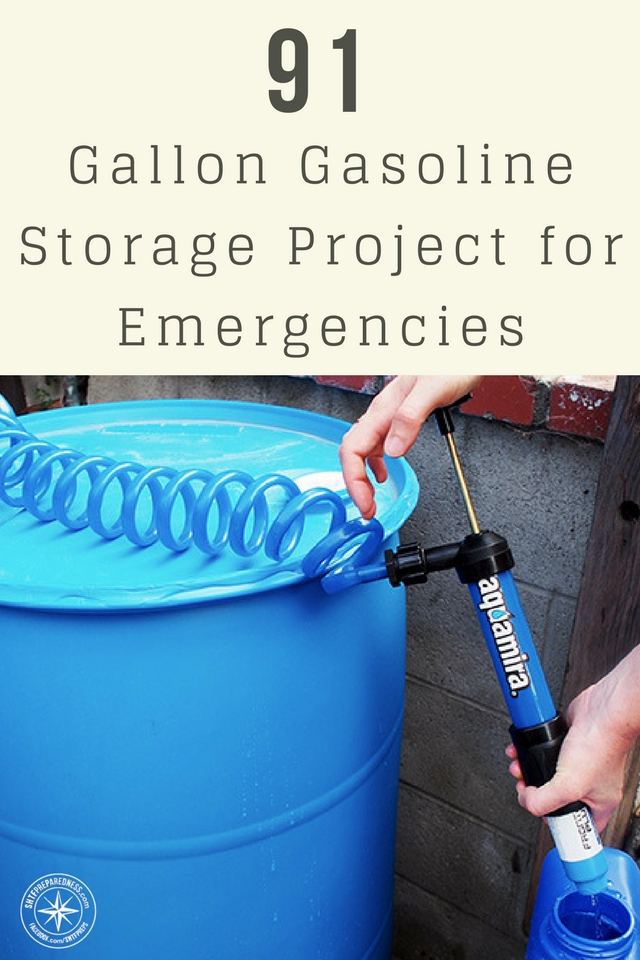 91 Gallon Gasoline Storage Project for Emergencies - The idea that you are going to have 10-20/5 gallong gas cans and a place to store them is pretty absurd. You need a better idea than that. This becomes even more of an issue if you are traveling.