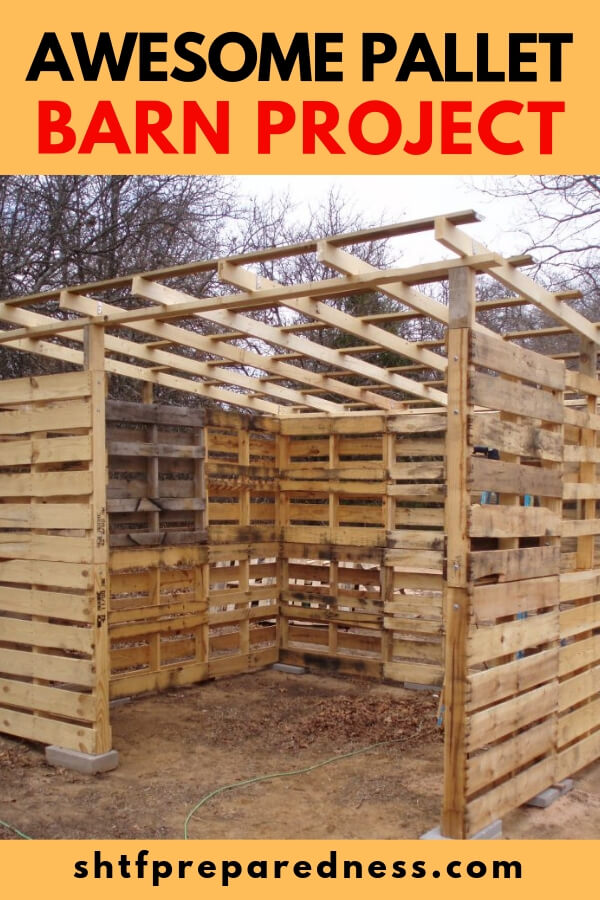 Awesome Pallet Barn Project - This pallet barn would be great for animals or to store stuff. Heck, you could even make a room or an office in one if you wanted too. When acquiring pallets, remember to always look for a stamp that says HT… This means heat treated and is safe to touch and build with.