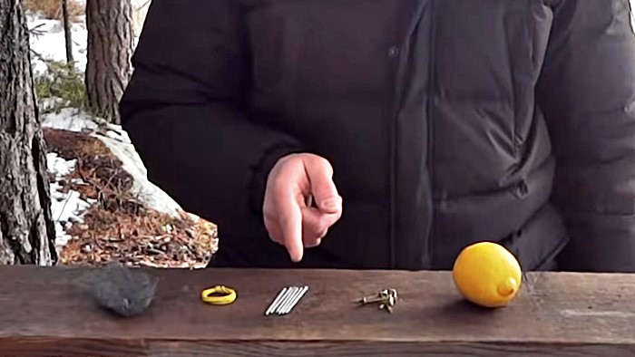 The items you will need: lemon, copper clips, zinc nails, wire, steel wool