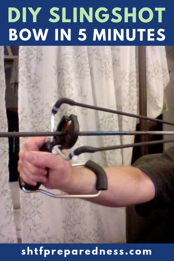 DIY Slingshot Bow In 5 mins — A slingbow will allow an individual to fire accurately, an arrow from a slingshot. It is the perfect survival, entertainment, and even hunting weapon that anyone can make for under $20.00 and is well worth the small manufacturing time and cost.