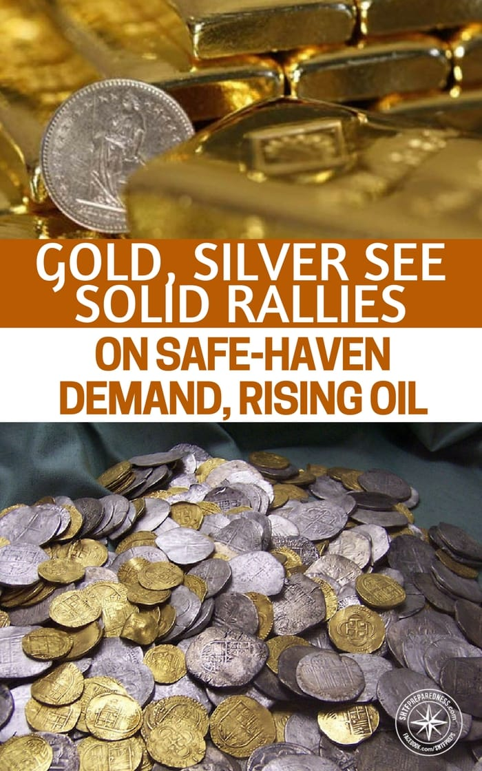 Gold, Silver See Solid Rallies On Safe-Haven Demand, Rising Oil - As commodities like oil rise you will see a rise in metals as well. Are you thinking about alternative currencies in the case of a collapse. Now is the time. While bitcoin has its benefits I cannot help but worry about an EMP and what happens to bitcoin wealth then.