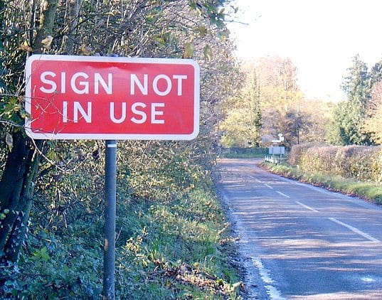 Sign not in use