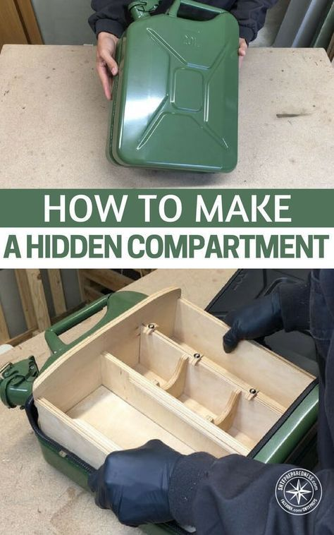 While the article is designed to create a mini bar within the common jerry can you could also use this compartment to hide all sorts of things. Win-win! images by Well Done Tips via instructibles.com