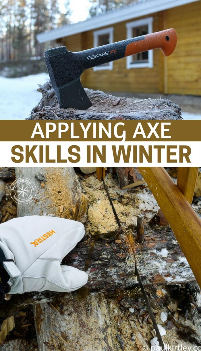 Applying Axe Skills In Winter - This article is all about using a great axe. There is something about a quality axe that just makes people smile. Enjoy this article and be sure you are taking the steps to use your axe skills in the winter.