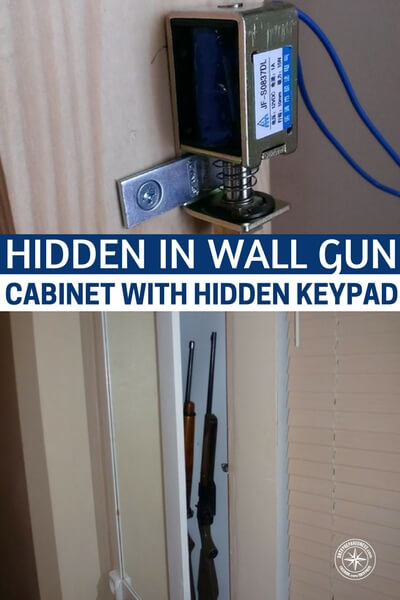 Hidden in Wall Gun Cabinet With Hidden Keypad - The other piece of this build is the fact that it is, freaking awesome, right? How cool is this hidden wall cabinet that holds your guns and whatever else you would like for it to hold. It also comes with a hidden keypad for opening.