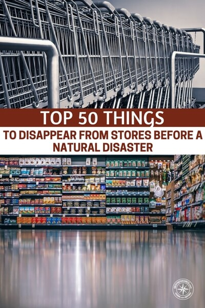 Top 50 Things To Disappear From Stores Before A Natural Disaster - This article is very useful in this regard as it provides a comprehensive list of all the stuff that stores will experience a shortage of and the stuff you need to make sure you have stocked before-hand. It gives a list of 50 things divided into their primary compartments, like food, first aid, child care, power and light, etc.