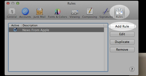 "In the ""Preferences"" window, click the ""Rules"" icon. Then, click the ""Add Rule"" button."