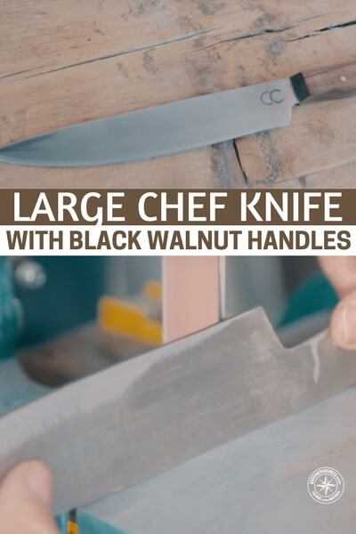 large chef knife with black walnut handles. Black Bedroom Furniture Sets. Home Design Ideas