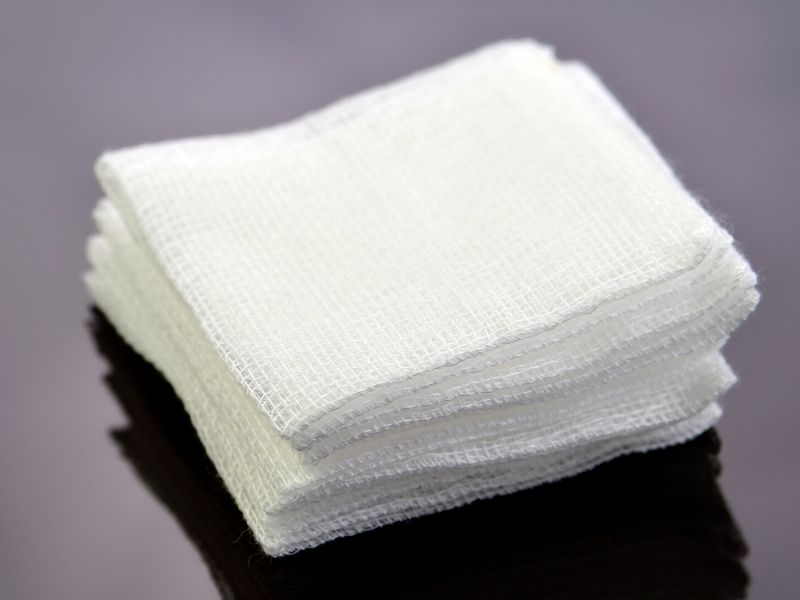 A stack of gauze for your diy dog first aid kit