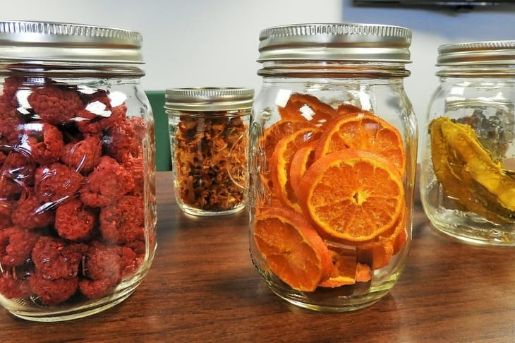 store meat without refrigeration in a root cellar - dehydrated fruits in mason jars